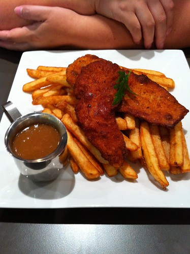 chicken schnitzel, chips and gravy, $10 (peppertree cafe)