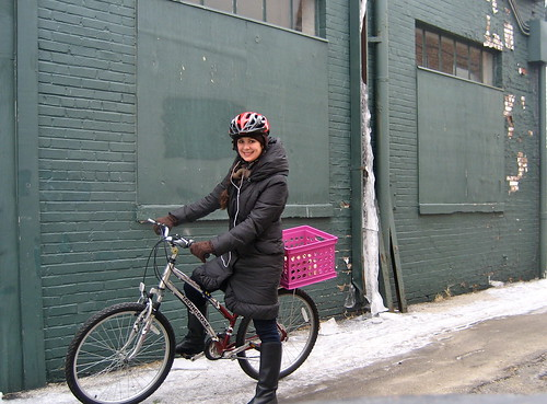 All bundled up on my bike