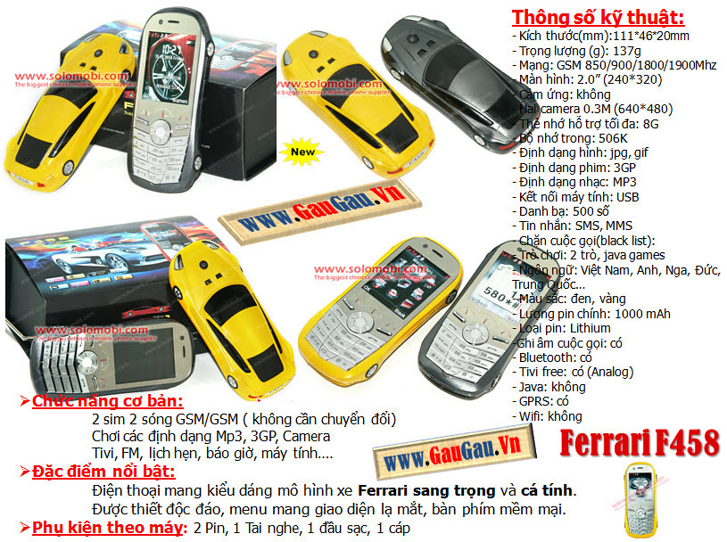 Điện Thoại 2 SIM 2 Sóng Ferrari F458 TiviHỗ trợ các chức năng giải trí đa phương tiện ( wifi, xem phim, nghe nhac, ...). Menu mang những icon đẹp mắt, Thẻ nhớ 8G Chức năng nghe nhạc,Quay phim,chụp ảnh...Hỗ trợ Bluetooth,Java,Fm... xem phim MP4, 3GP, AVI,., Loại pin Li-Ion 1000mAh và được nhiều người chú ý nhờ thiết kế tinh tế
