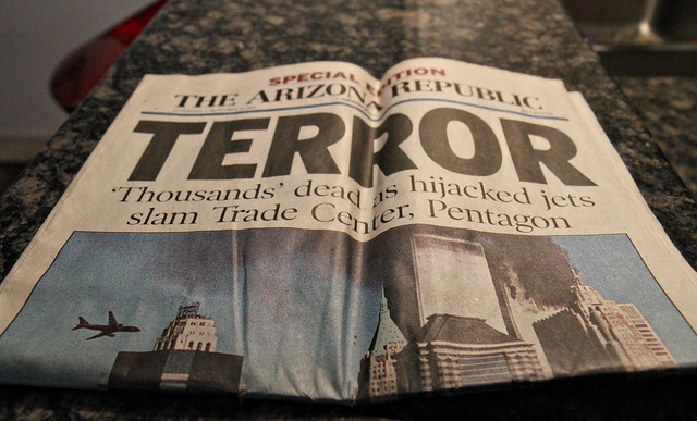 Attack on the World Trade Center - paper dated 09/12/01.