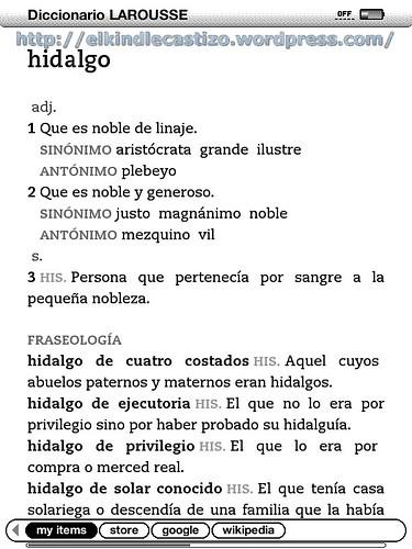 Búsqueda de definición en el Kindle