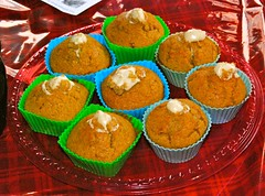 I made yummy Spiced Cream Cheese Stuffed Pumpkin Muffins