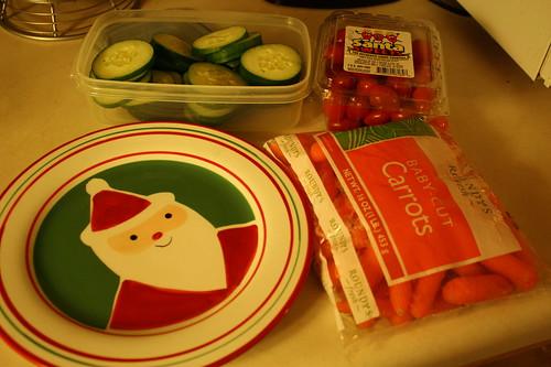 Santa plate and veggies