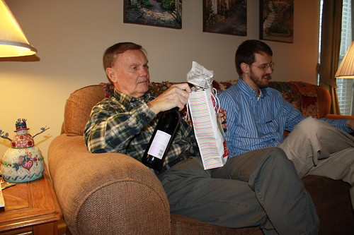 dad with wine and pistachios