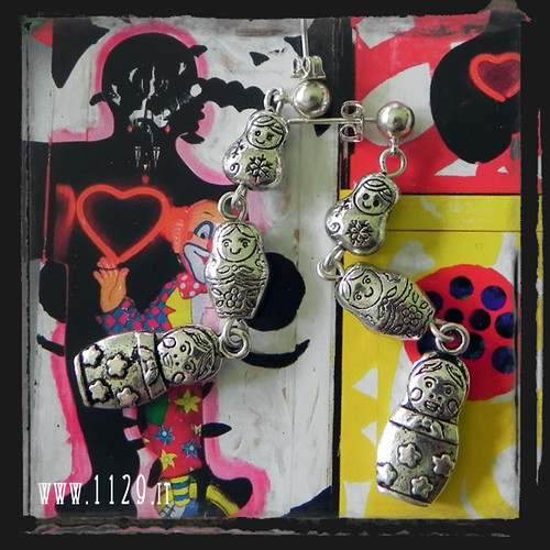 MAMATR orecchini matrioska babooshka handmade silver earrings