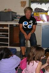 Tania Gibson hosts Storytime in the Burnside High School shelter