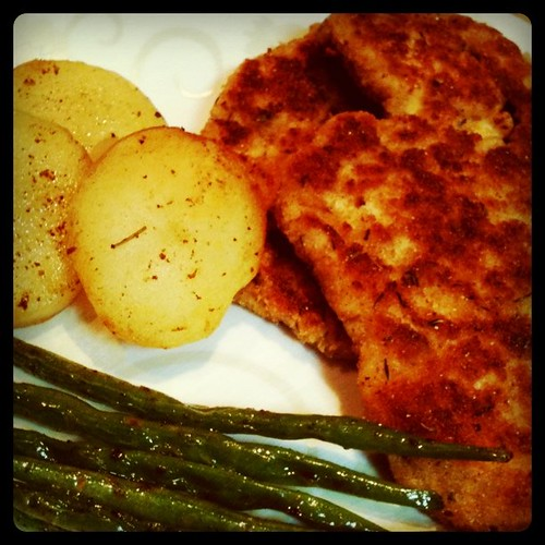Chicken Schnitzel with butter fried potato and beans by gailcaidoy