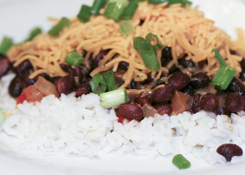 Black Beans and Rice Topped