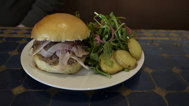 Pork Conserva sandwich and arugula/fingerling potato salad at Starstream Cafe
