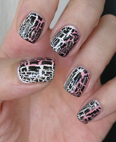 Pink/white + black crackle