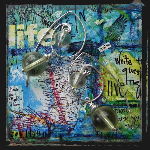 MCAPOS orecchini verde acqua light green wire earrings 1129