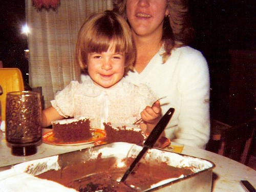 My obsession with cake started young too eating it then, now I bake them now!