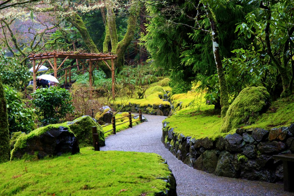 A trail in Japanese Garden in the Butchart Gardens