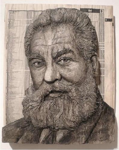 Alex Queral Book Carvings 3 Alexander Graham Bell