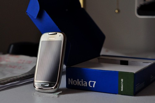 Nokia C7 with case