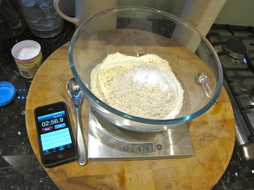 Weigh flour and bicarb