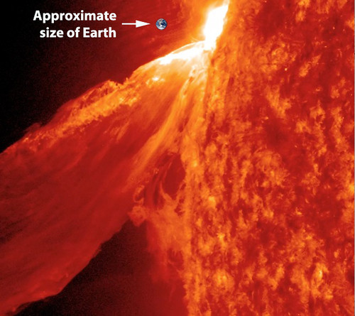 Gargantuan Solar flare, vs tiny size of the Earth