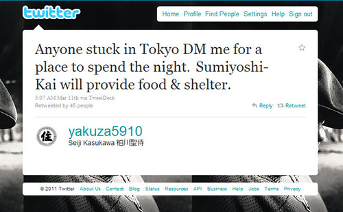 Japan Earthquake Twitter User Yakuza5910 Offers Shelter In Tokyo