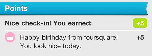birthday points from Foursquare