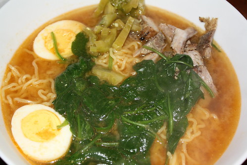Miso Ramen w/ribs, pickled mustard greens, egg & spinach