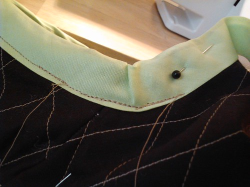 Adding the double bias tape edging