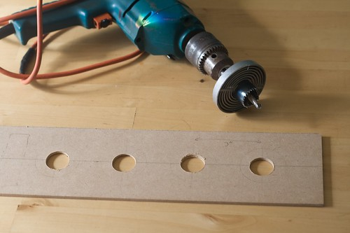 Drilling holes for the lamp holders