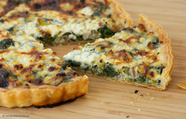 Spinach, Mushroom and Cottage Cheese Quiche