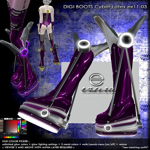 + ezura + DIGI Boots Cyber Latex ex11-03 *Purple