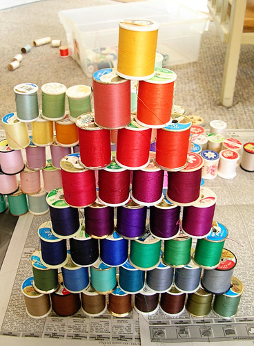 Thread tower arranged by color