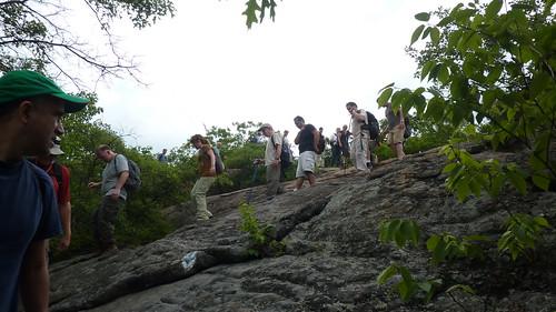 Hikers carefully descending