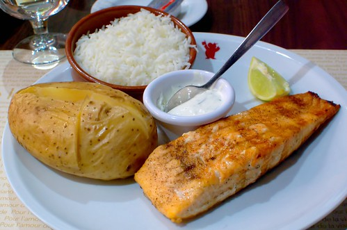 Baked Potato, Rice, Salmon