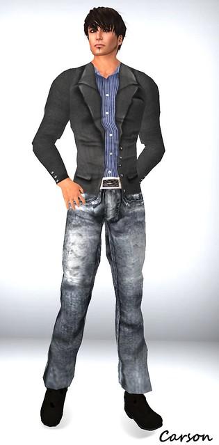 Wilson's Black Faded Jeans , BLue Striped Shirt, Wild Man Hunt Jacket