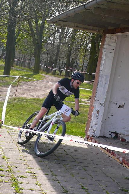 Fahrrad schräg Rennen