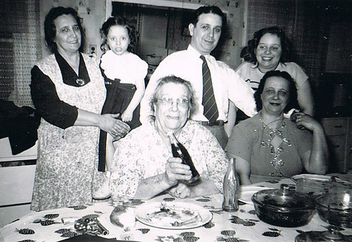 Front row: Anna Matracia/Sansone, and Anna Mercurio. Back row: Mary Demma, Marie Demma, Frank Matracia, and Jody Mercurio (daughter of Anna Mercurio).