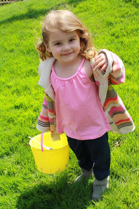 Hunting for Easter eggs in an awesome outfit