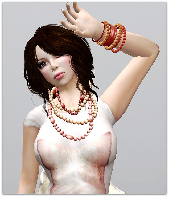 Izzie's-Pearl Jewelry Set Orange Red