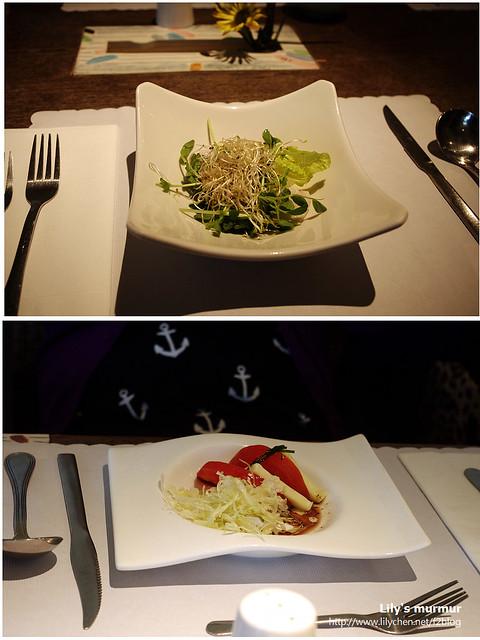 這是前菜的沙拉,上面是我的,下面是點牛肩排套餐的,有好吃的起司!