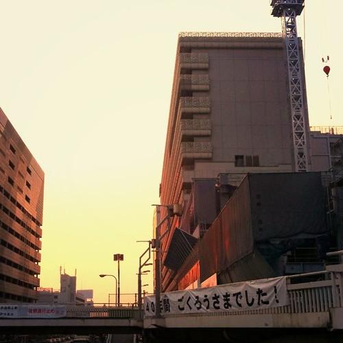 朝焼け。みんなー、今日も笑顔で( ^ω^)( -ω-)( _ _)おはよ! #Osaka #Abeno #morning