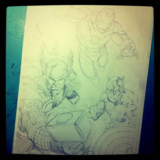 Avengers - pencils finished - going to the inks! #Avengers #Thor #IronMan #CapitainAmerica #Marvel #Comics