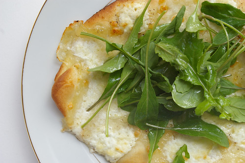 White pizza with arugula