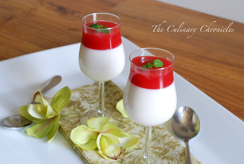 Lychee Panna Cotta with Guava Gelée