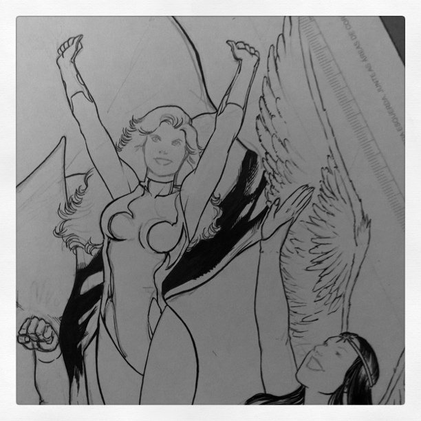 Dream Girl and Dawnstar - Ink in Progress #LegionOfSuperHeroes #DCcomics #Comics