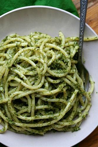 Bucatini with Garlicky Nettle Pesto 2