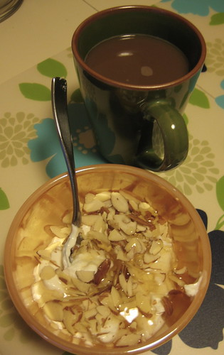 yogurt, almonds, honey; coffee