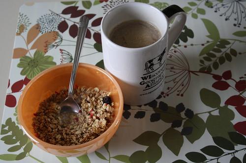 Kashi summer berry granola; coffee