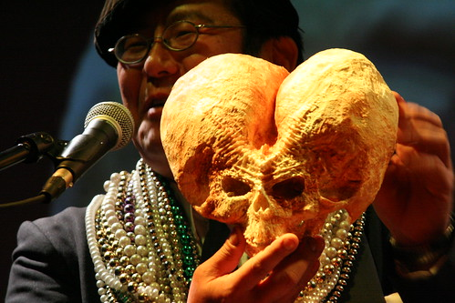 Takeshi Yamada with Freak Taxidermy Skull at Secret Science Club's 5th Annual Taxidermy Contest. Photo © mysticchildz/nadiaChaudhury via flickr