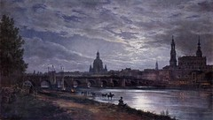 Dahl, Johann Christian  - View of Dresden at full  moon  - 1839