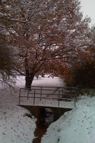 Snowy bridge