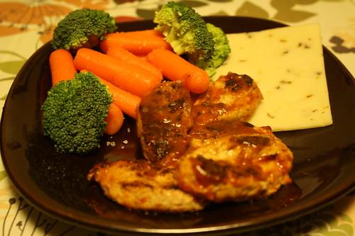 gardein buffalo wings, fresh veggies, pepper jack cheese