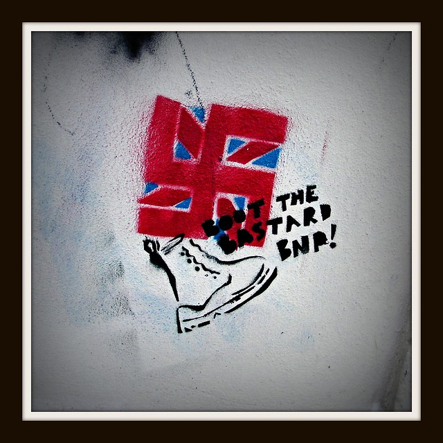 Wintry graffiti in Roath, Cardiff. Boot out the b**tard BNP